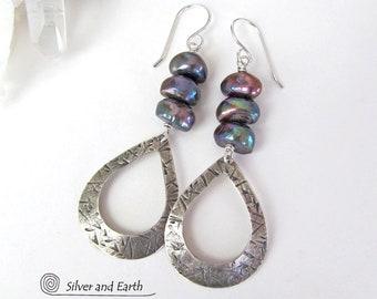 Sterling Silver Hoop Earrings with Freshwater Pearls, Handmade Silver Dangle Earrings, Lightweight Modern Silver Earrings, Pearl Jewelry