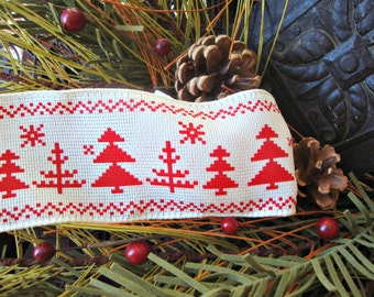 SALE - Scandinavian Red and Ivory Christmas Tree Ribbon