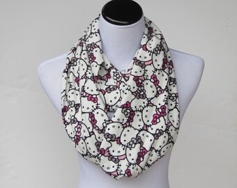 Kitty scarf, infinity scarf for kitty lovers loop scarf cute pink white black cat scarf - matching scarf for mom and little girl