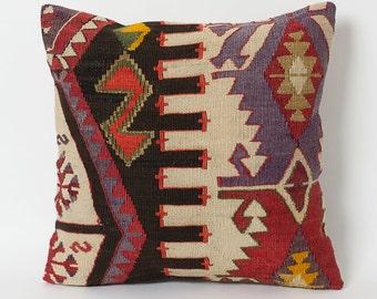 Decorative Kilim Pillows - Couch Pillow Decorative Throw Handwoven Pillow Kilim Cushion Vintage Kilim Pillows Ethnic Home Decor Boho Pillow