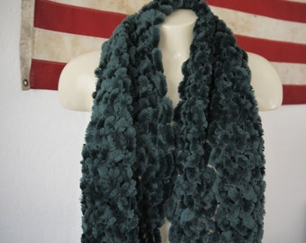 FREE SHIPPING** Green Fur Scarf / Vintage Rabbit Fur Scarf / Vintage Fur Shawl / Vintage fringe fur scarf / Fur Stole /