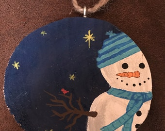 Handmade Painted Wood Slice Christmas Ornament - Snowman at Night with Red Bird