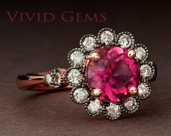 Natural Rubellite Tourmaline Daisy Flower Ring, Raspberry Red Engagement Ring in Solid Rose Gold