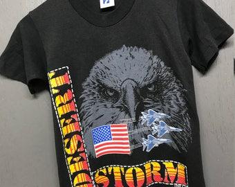 XS vintage 90s Desert Storm USA gulf war eagle t shirt