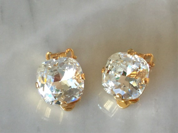Swarovski Crystal Clip On Earrings, Yellow Gold