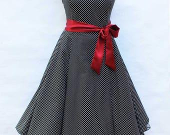 Sale Small Black & White Polka Dot Dress 50s Rockabilly Petticoat