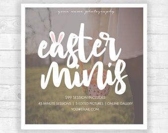 Easter Mini Session Template Bunny Ears | Photography Template | Photographer Resources | M20