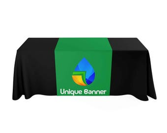 Custom Table Runner, next day shipping available, for Tradeshow, booth, events, fundraisers, advertising, business,Custom Logo