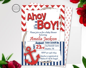 Nautical Baby Shower Invitation | Ahoy it's a Boy Invitation | Sailor Baby Shower Invitation | Anchor Baby Shower | It's a Boy Invitaiton