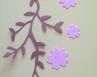 Leafy Branch with Flowers Die Cuts Set