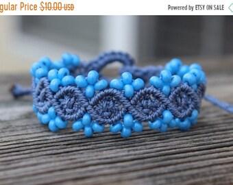 SALE Micro-Macrame Beaded Bracelet - Light Blue