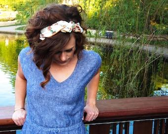 Headscarf - Summer Head Scarf - Summer Hair Accessories - Summer Hair Styles - Scarf Headband - Boho Cream and Mustard Floral