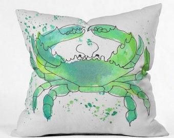 Seafoam Green Crab Outdoor Throw Pillow