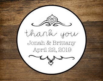 "Wedding favor labels, personalized stickers, 2"" round stickers, set of 20, Thank You script, Matte white or Kraft brown, shower favors"