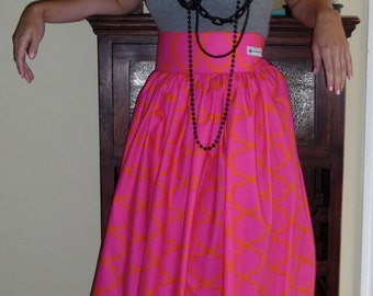 Floor Length SKIRT - Michael Miller - Mod Basics - Moroccan Lattice in Sorbet - Made in ANY Size - Boutique Mia by CXV