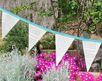Book Page Mini Bunting Turquoise - Paper Rustic Shabby Chic Wall Hanging - Banner Garland Wedding Bridal Bookworm Gift Cottage Boho Decor