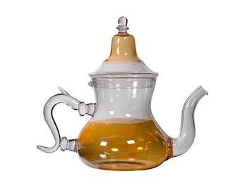FREE SHIPPING Handmade Moroccan Glass Teapot, Yellow