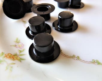 MINI TOP HAT Black Miniature Hats Plastic Fairy Garden Snowman Doll House Terrarium Supplies Small Craft Supply Tiny Cupcake Cake Decor