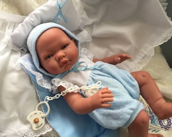Stunning Baby Boy,Soft touch vinyl,Realistic,Fake Baby,Spanish Outfit /pacifier,Sale price,worldwide shipping!!