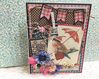 Spring Is In The Air Shabby Chic Style Creeting Card