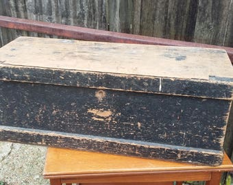 Vintage Painted Pine Work Box Chest