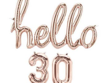 """Large """"Hello 30"""" Rose Gold Script Foil Balloon, Number Balloons Birthday, Party """"Same Day Shipping"""""""