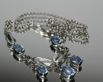 Vintage Sterling and Blue Glass Stone Necklace/Choker - Van Dell