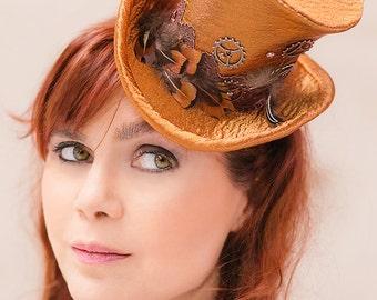 Bridal mini top hat copper satin steampunk wedding lace feathers bohemian headdress