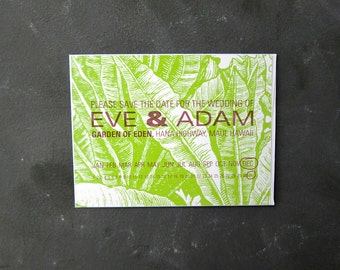 Botanical Save the Date with Calendar: Adam and Eve