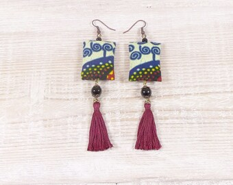Ethnic earrings multicolored African glass beads, tassel, toned fabric.