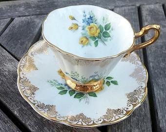 Rosina Bone China Yellow Rose teacup and saucer