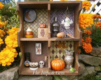 Repurposed Recycled Halloween House Mixed Media Assemblage Shadowbox