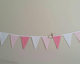 Fabric bunting flags pastel pink, bright pink and white