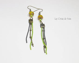 Jungle • Earrings Metal and glass bead fairy jewelry • dangle earrings • tassel