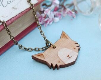 Laser Cut Wooden Cat Necklace