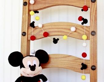 Custom****** just Mickey Mouse heads, this is NOT a garland*******Disney, Mickey Mouse, Birthday Felt Ball Garland, Pom Pom Garland, Nurser