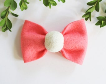 Bow Hair Clips - Pom-Pom Bow - Hair Bows - Single Dot Bow