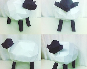 Sheep papercraft. You get a PDF digital file with templates and detailed instructions for this DIY (do it yourself) paper model.