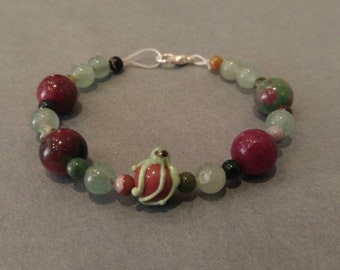 Bracelet with green glass Octopus