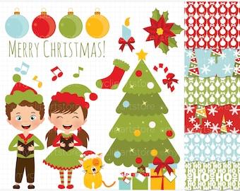 Clipart Combo - Christmas Carols / Children Singing Clip Art / Digital Clipart - Instant Download (updated)