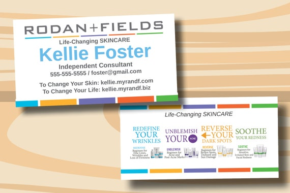 Rodan Fields Business Cards Two Sided Business Card PRINTED - Rodan and fields business card template