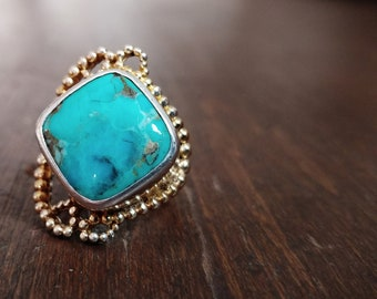 Vintage Bold Navajo Sterling Silver and Turquoise Ring