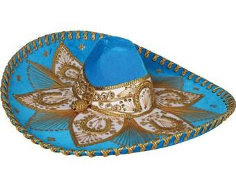 Sombrero Charro azul marino/dorado-600755
