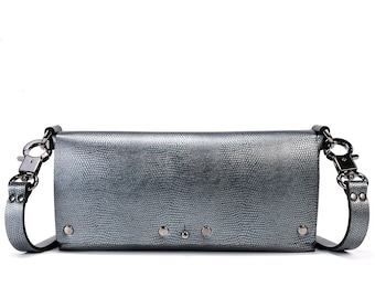 Pewter Baguette | Silver Horizontal Crossbody - Clutch | Vegan | Made in USA