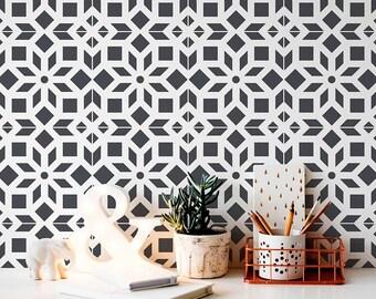 Kerala Tile Stencil - Cement Tile Stencils - DIY Faux Tiles - Reusable Stencils for Home Makeover