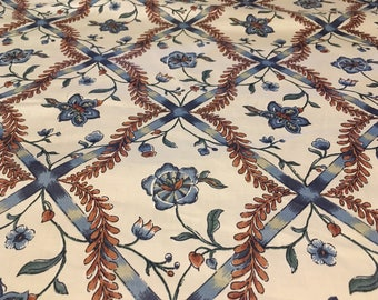 "Vintage- 1981 Luther Travis ""Samana"" steel blue and rust floral vine on cream medium weight cotton"