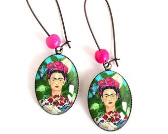 Cabochon Frida Kahlo, Mexico, Gypsy, Bohemian chic, boho, ethnic earrings