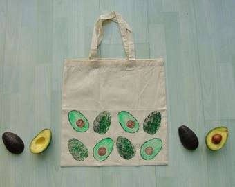 Avocado Tote Bag - 100% Recycled Cotton - Hand Printed -  Gift Idea - Avocado Lover - Gardening Gift - Market Bag