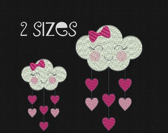 Machine Embroidery Design Cloud Heart Hearts Rain Love Embroidery Cloud Heart Embroidery Pattern Instant Download 4x4 in 5x7