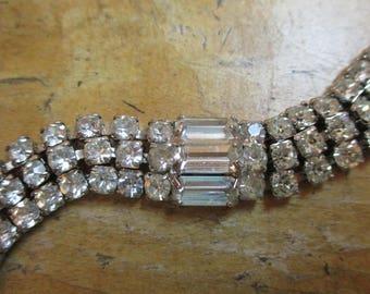Vintage Mid Century Multiple Row Crystal Rhinestone Bracelet Silver Tone Setting Prong Set Clear Foil Back Rhinestones